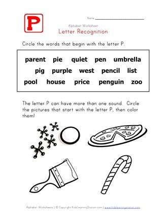Letter P Words Recognition Worksheet | All Kids Network