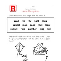 letter r words alphabet recognition page all kids network