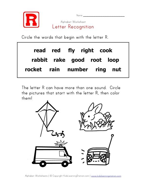 Letter R Words Recognition Worksheet All Kids Network