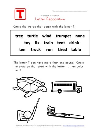 Letter T Words Alphabet Recognition Page