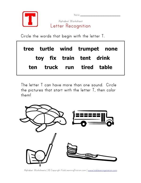 letter t words recognition worksheet all kids networkLetter T Words Worksheets #1