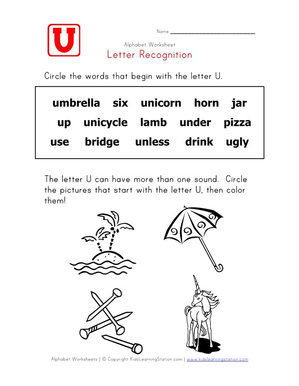 Letter U Words Recognition Worksheet | All Kids Network