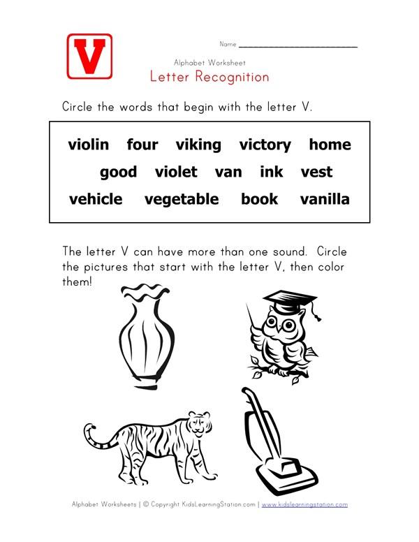 Letter V Words Recognition Worksheet | All Kids Network