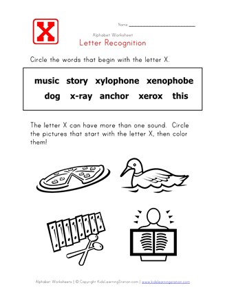 Letter X Words Alphabet Recognition Page