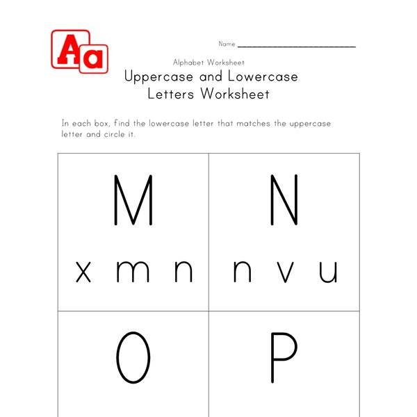 lowercase and uppercase m n o and p worksheet all kids network. Black Bedroom Furniture Sets. Home Design Ideas
