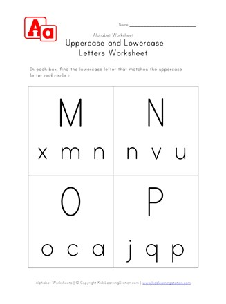 uppercase lowercase worksheet mnop