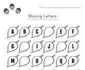 Fall Missing Letters Worksheet