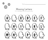 Winter Missing Letters Worksheet