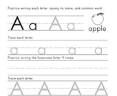 Printing Letter A Worksheet