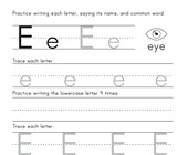 Printing Letter E Worksheet