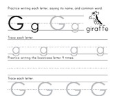 Printing Letter G Worksheet