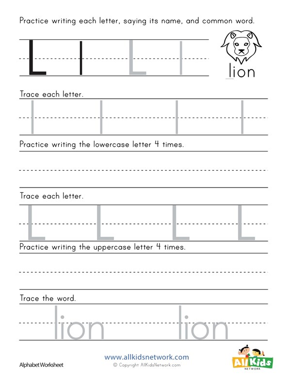 Printing Letter L Worksheet | All Kids Network