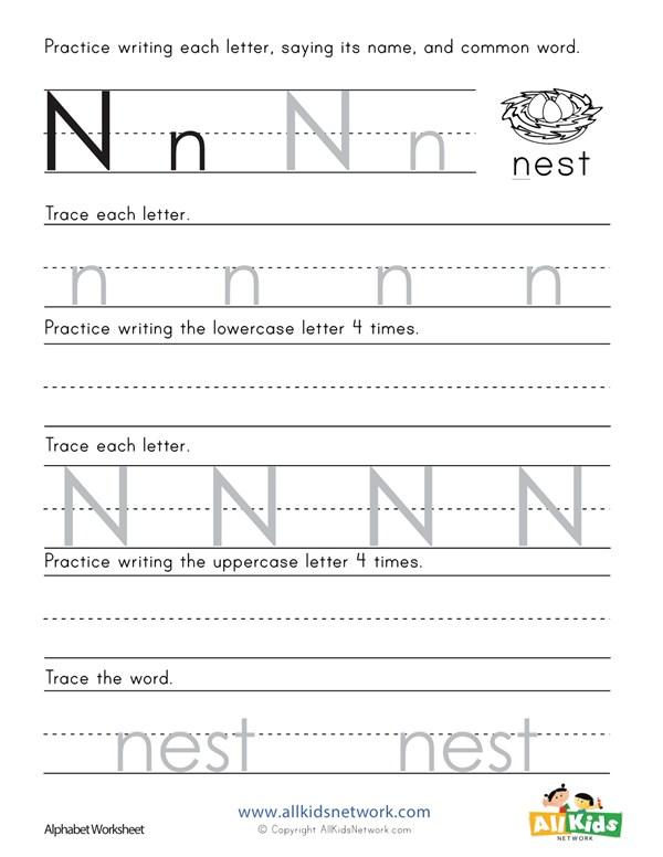 Printing Letter N Worksheet All Kids Network