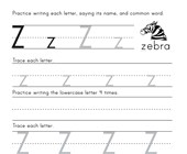 Printing Letter Z Worksheet
