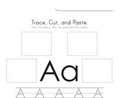Trace, Cut and Paste Letter A Worksheet