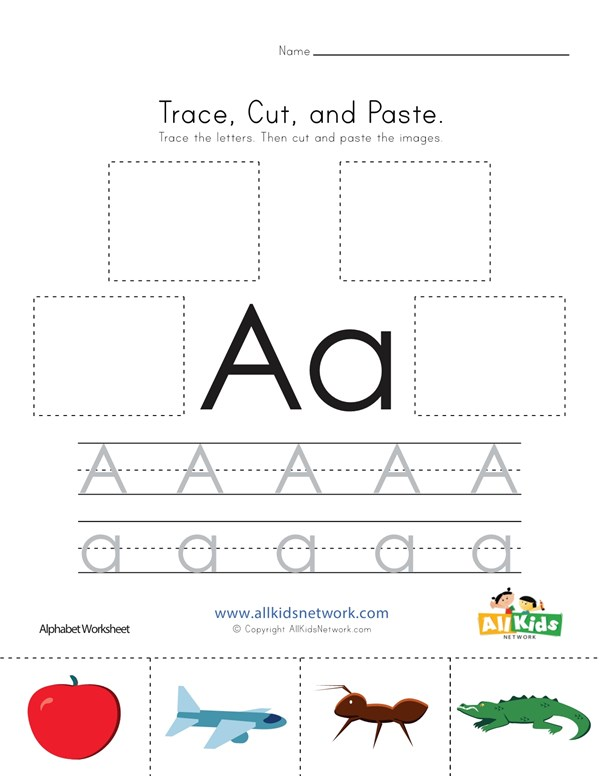 Trace, Cut and Paste Letter A Worksheet | All Kids Network