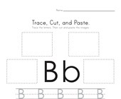 Trace, Cut and Paste Letter B Worksheet