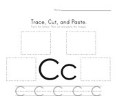 Trace, Cut and Paste Letter C Worksheet