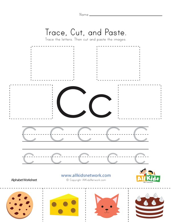 Trace cut and paste letter c worksheet all kids network spiritdancerdesigns Choice Image