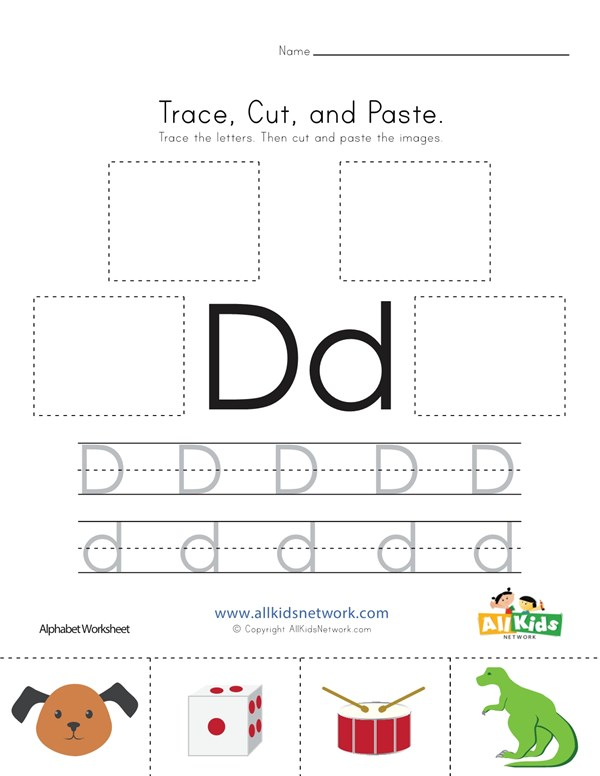 Trace cut and paste letter d worksheet all kids network spiritdancerdesigns Choice Image