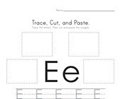 Trace, Cut and Paste Letter E Worksheet