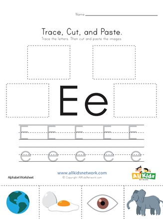 Trace, Cut and Paste Letter E Worksheet | All Kids Network
