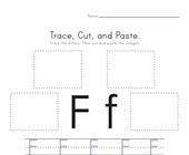 Trace, Cut and Paste Letter F Worksheet