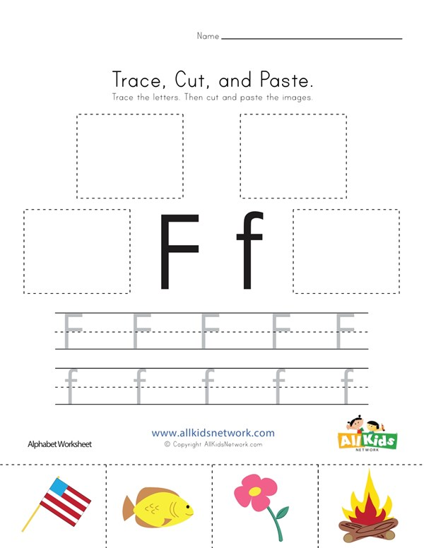 Trace Cut And Paste Letter F Worksheet All Kids Network
