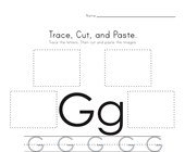 Trace, Cut and Paste Letter G Worksheet