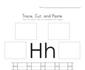 Trace, Cut and Paste Letter H Worksheet
