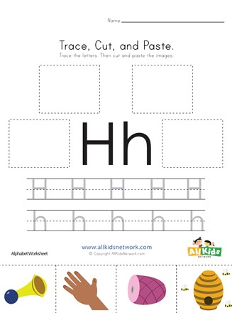 Trace, Cut and Paste Letter H Worksheet | All Kids Network