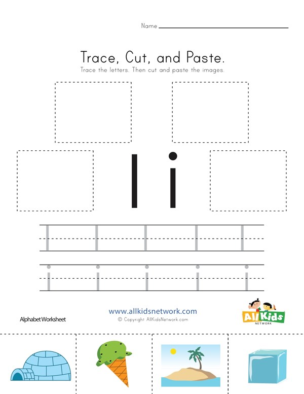Trace Cut And Paste Letter I Worksheet All Kids Network
