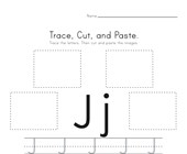 Trace, Cut and Paste Letter J Worksheet