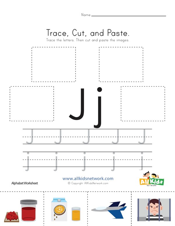 Trace Cut And Paste Letter J Worksheet All Kids Network