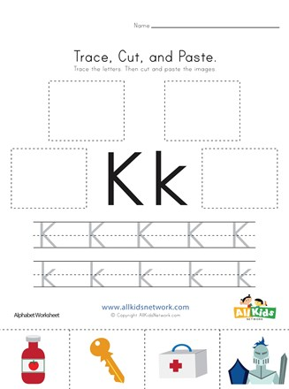 Trace, Cut and Paste Letter K Worksheet | All Kids Network