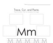 Trace, Cut and Paste Letter M Worksheet