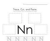 Trace, Cut and Paste Letter N Worksheet