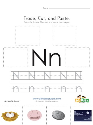 Trace, Cut and Paste Letter N Worksheet | All Kids Network