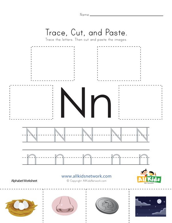 Trace Cut And Paste Letter N Worksheet All Kids Network