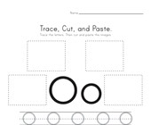 Trace, Cut and Paste Letter O Worksheet