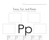 Trace, Cut and Paste Letter P Worksheet
