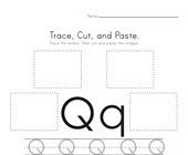 Trace, Cut and Paste Letter Q Worksheet