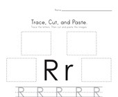 Trace, Cut and Paste Letter R Worksheet