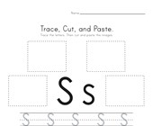 Trace, Cut and Paste Letter S Worksheet