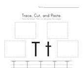 Trace, Cut and Paste Letter T Worksheet