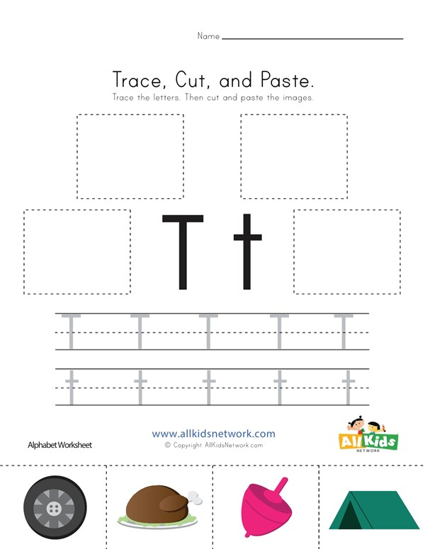 Trace Cut And Paste Letter T Worksheet All Kids Network