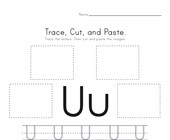 Trace, Cut and Paste Letter U Worksheet