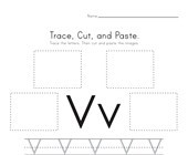 Trace, Cut and Paste Letter V Worksheet