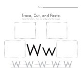 Trace, Cut and Paste Letter W Worksheet