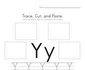 Trace, Cut and Paste Letter Y Worksheet